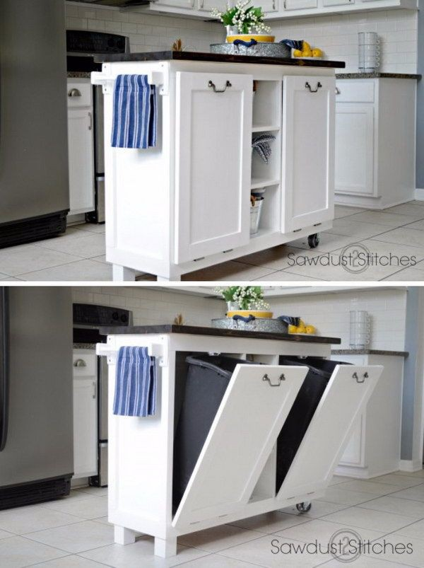 19. Kitchen Island Garbage Storage