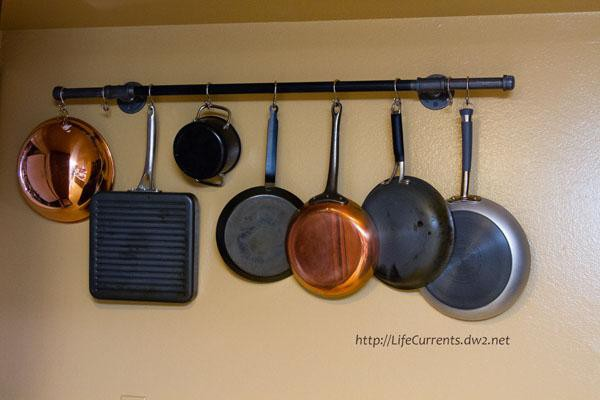 2. DIY Pot Rack With Pipes