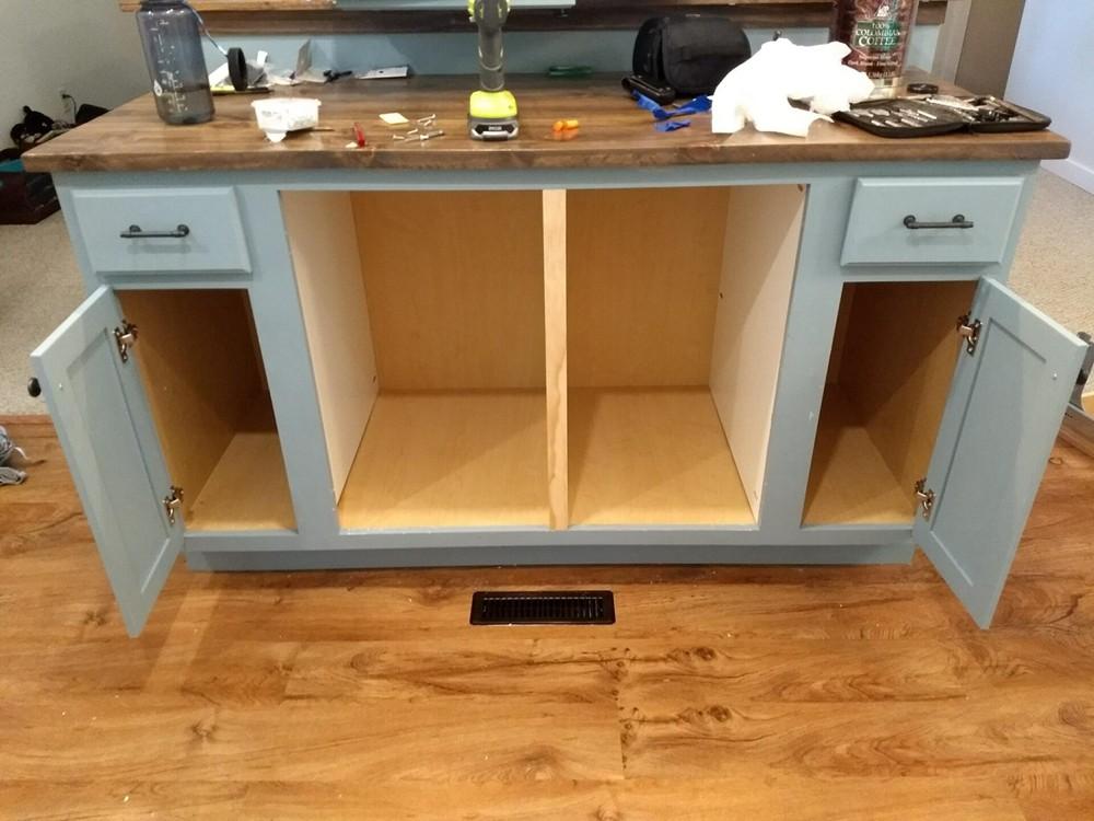 21. DIY Kitchen Island With Storage Space