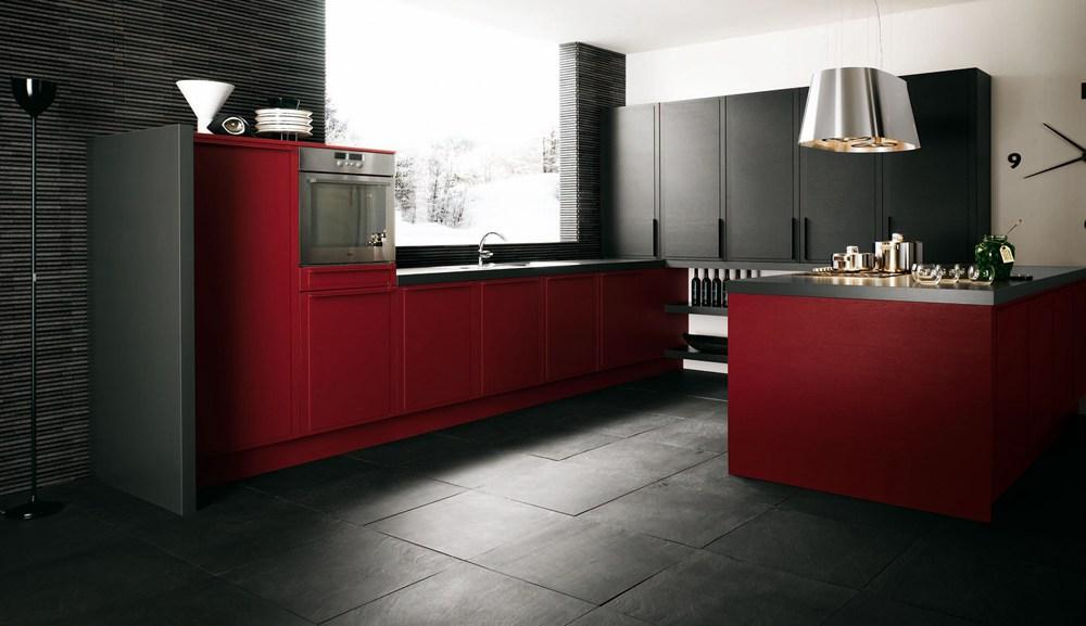 21. Dark Red Kitchen Decor Idea