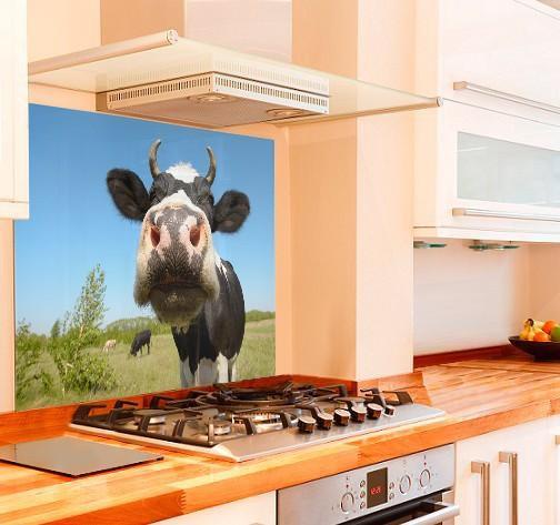 22. DIY Cow Picture Backsplash Idea