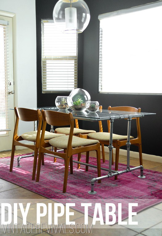 22. DIY Metal Conduit Kitchen Table With Glass