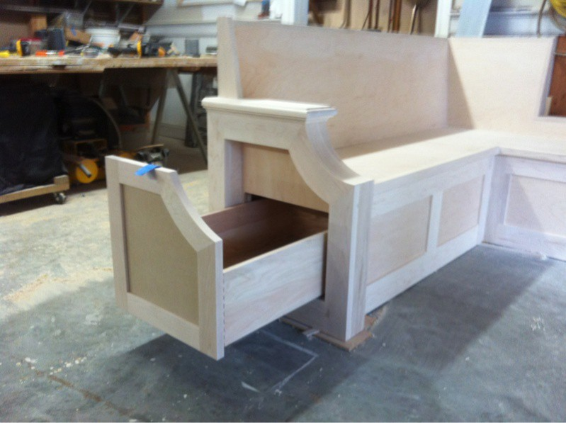 22. Unfinished Pull-Out Drawer Kitchen Bench