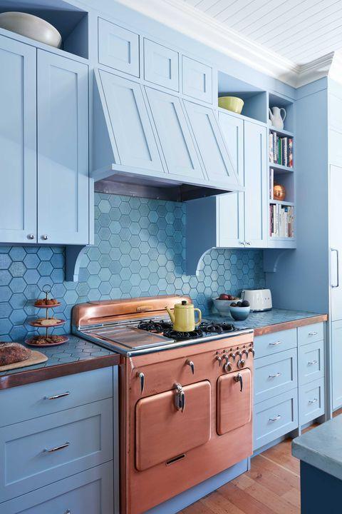 23. Blue And Copper Kitchen Decor