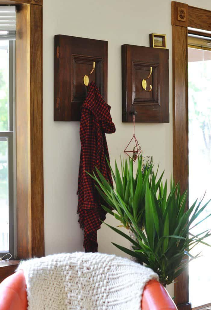 23. DIY Coat Rack From Cabinet Door