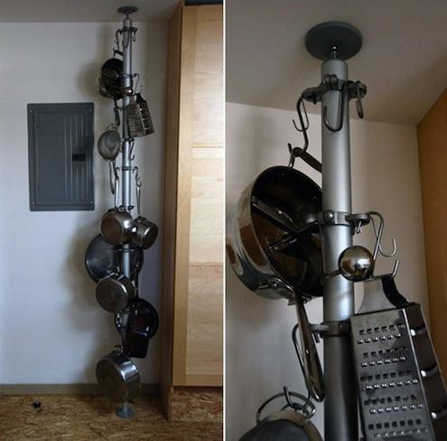 24. DIY Vertical Pot Rack