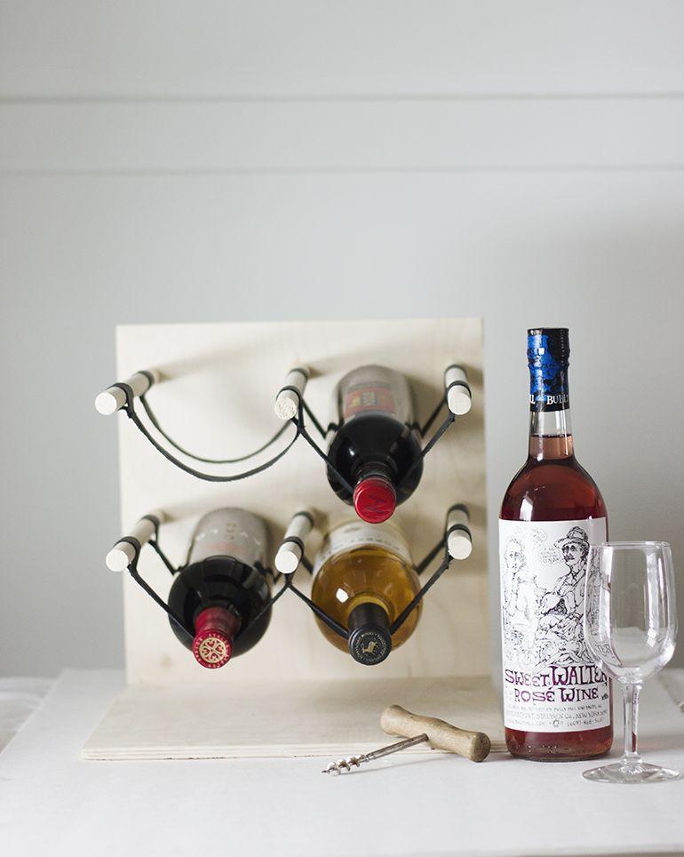 24. Leather & Wood Wine Rack