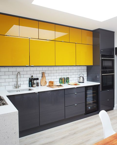 24. Yellow Upper Cabinets