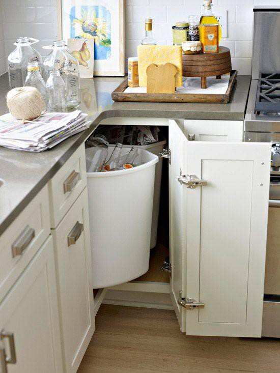 27. Kitchen Corner Garbage Can Storage