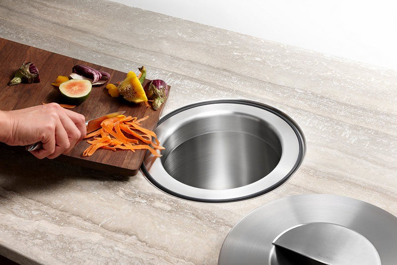 28. Under Countertop Trash Can Storage Idea