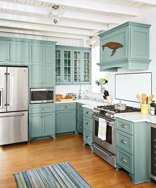 3. Cabinets Covered In Teal