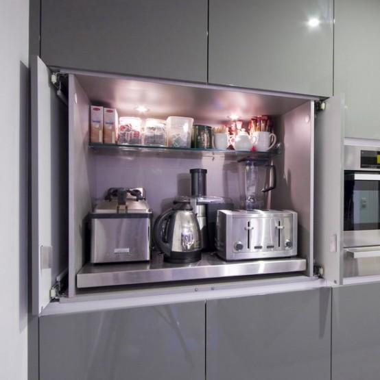 33. Modern Kitchen Appliance Storage Idea