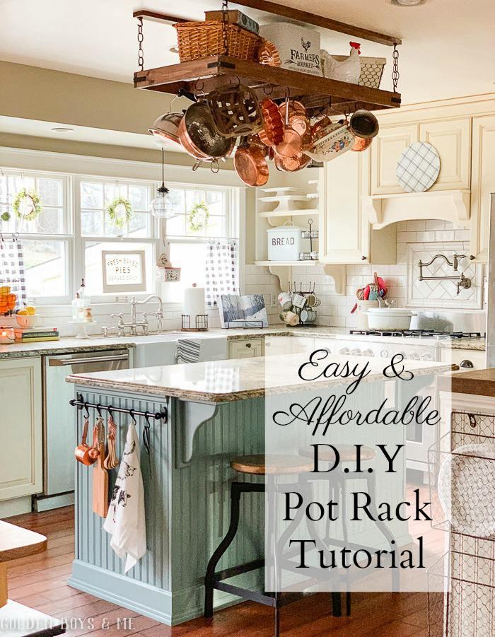 4. DIY Pot Rack With Extra Storage
