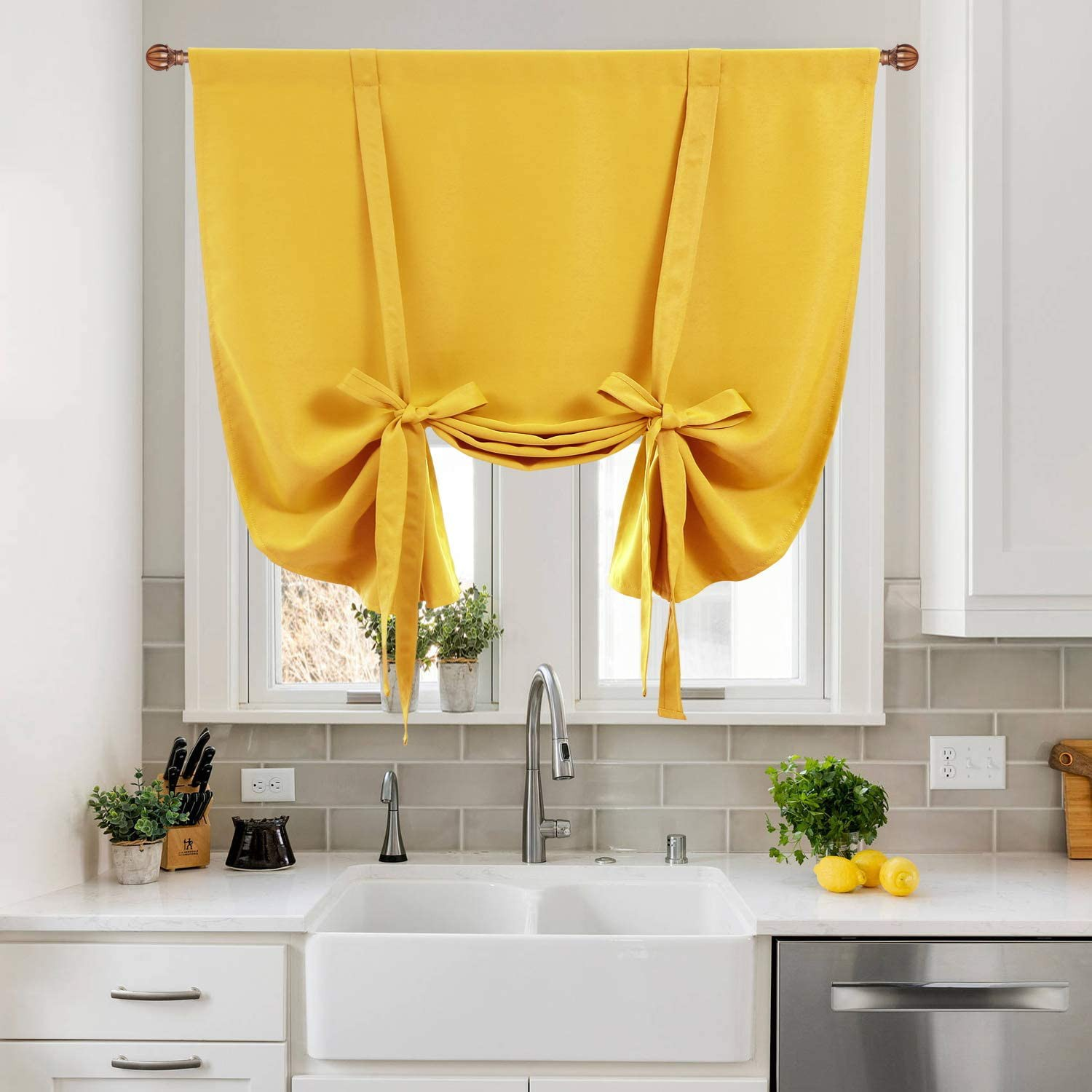 5. Yellow Tie-up Curtain