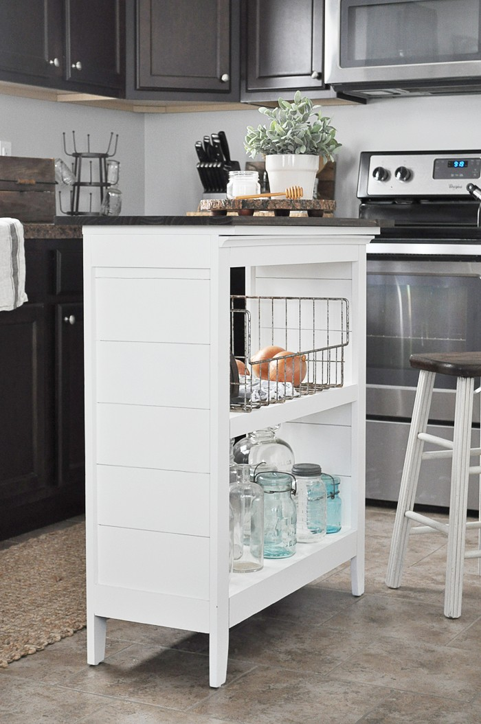 6. Book Shelf Transformed To Kitchen Cart