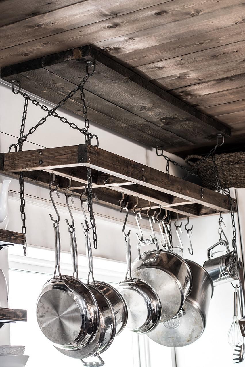 6. DIY Rustic Kitchen Pot Rack