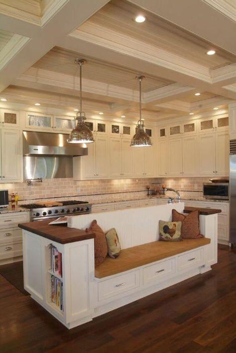 6. Modern Kitchen Bench With Storage
