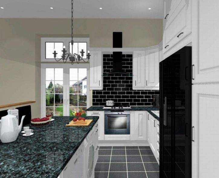 7. Black And White Small Kitchen Decor