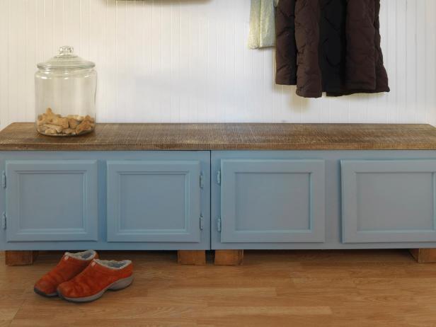7. DIY Transform Kitchen Cabinet Into Bench