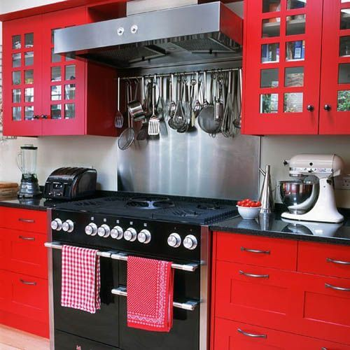 7. Red Kitchen Cabinets