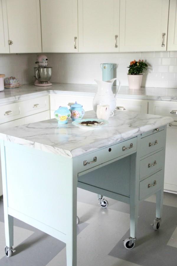 8. DIY School Desk Kitchen Island