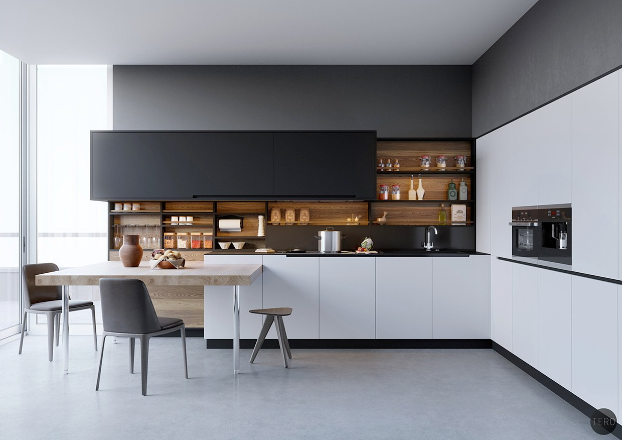 8. Modern Black And White Kitchen