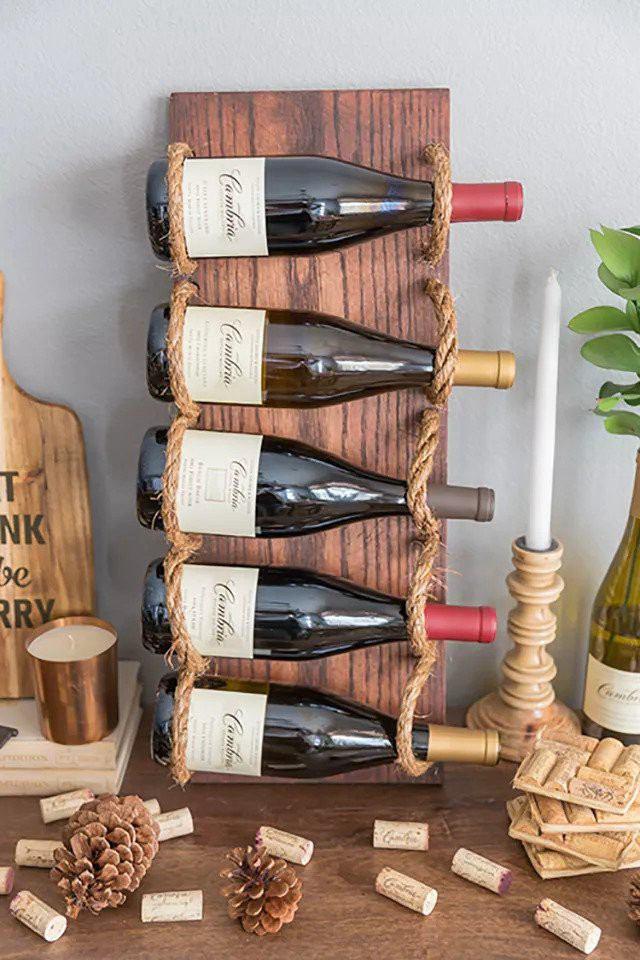 8. Rope Hanging Wine Rack DIY
