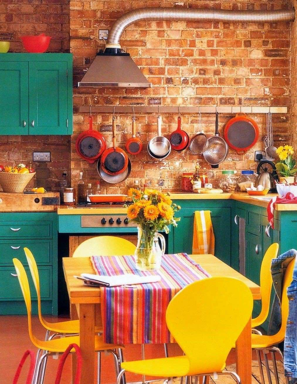 8. Teal Cabinets With Bright Yellow Accents