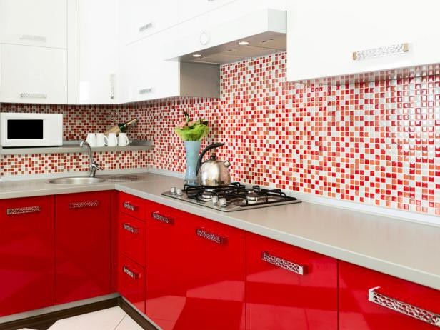 9. Glossy Red Cabinets