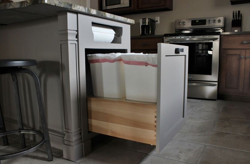 9. Kitchen Island Trash Can Storage