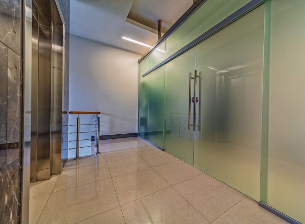 Cubicle Doors of Frosted Glass
