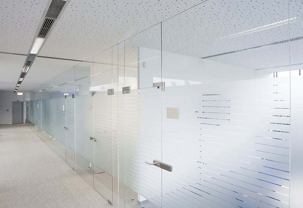Obscure Glass Conference room or meeting room with the company logo design