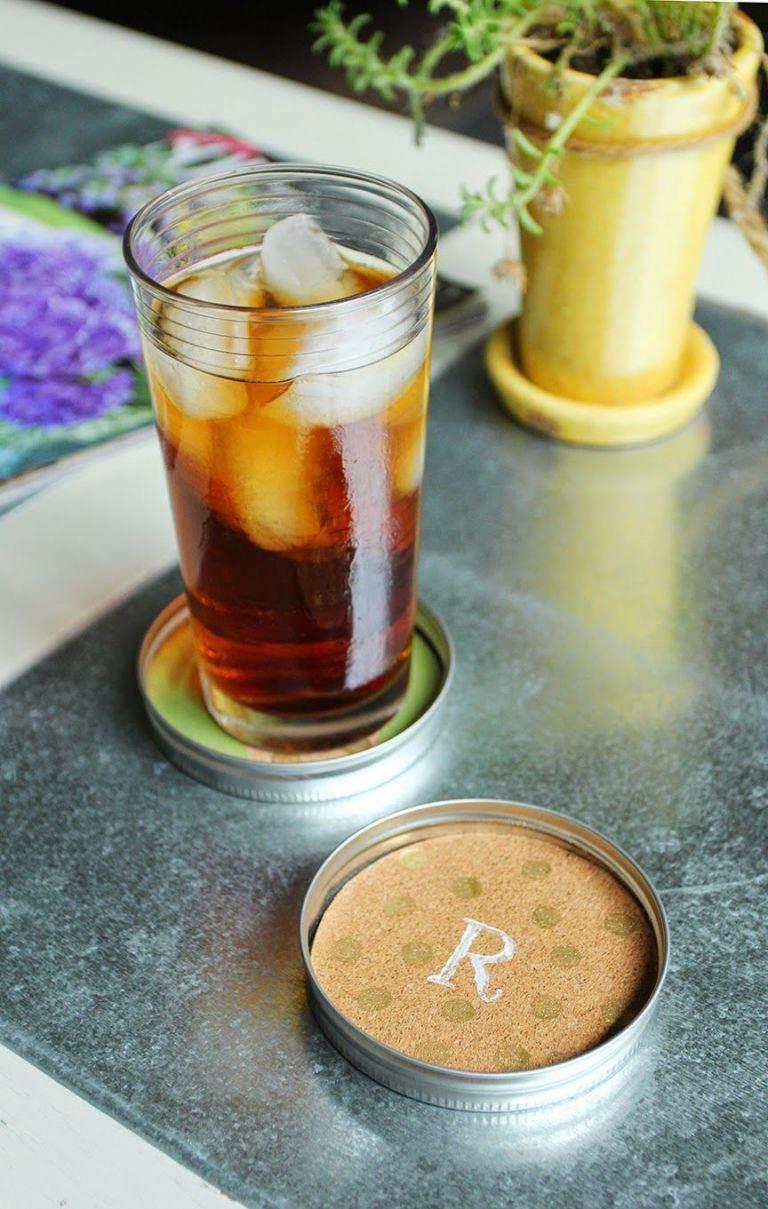1. Mason Jar DIY Coasters