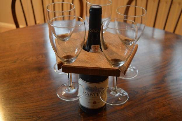 10. DIY Wine Glass Holder From White Oak