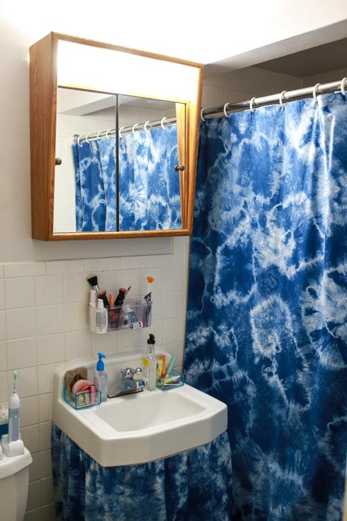 10. Dyed Homemade Shower Curtain DIY