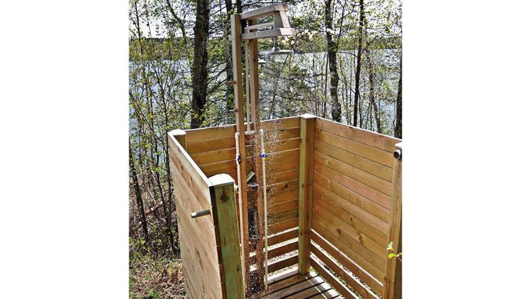 10. Simple Wood Outdoor Shower
