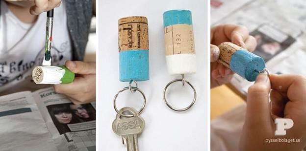 10. Wine Cork Keychain DIY