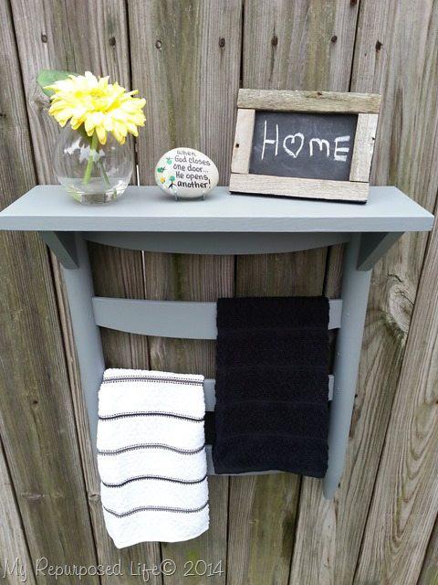 11. Chair Back Towel Rack DIY