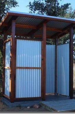 11. Corrugated Metal Outdoor Shower DIY