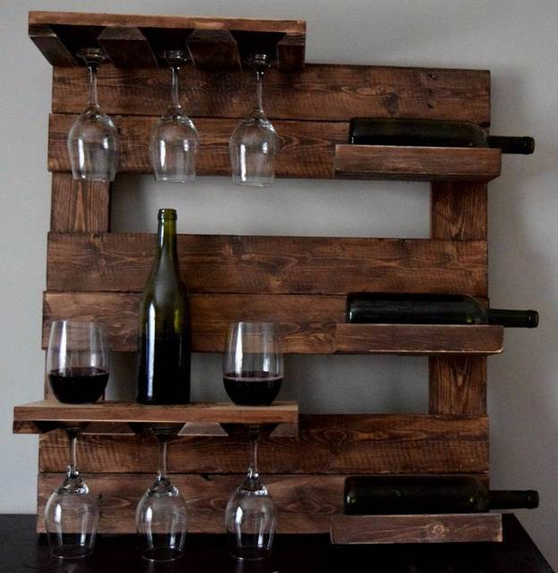 11. DIY Pallet Wood Glass Rack