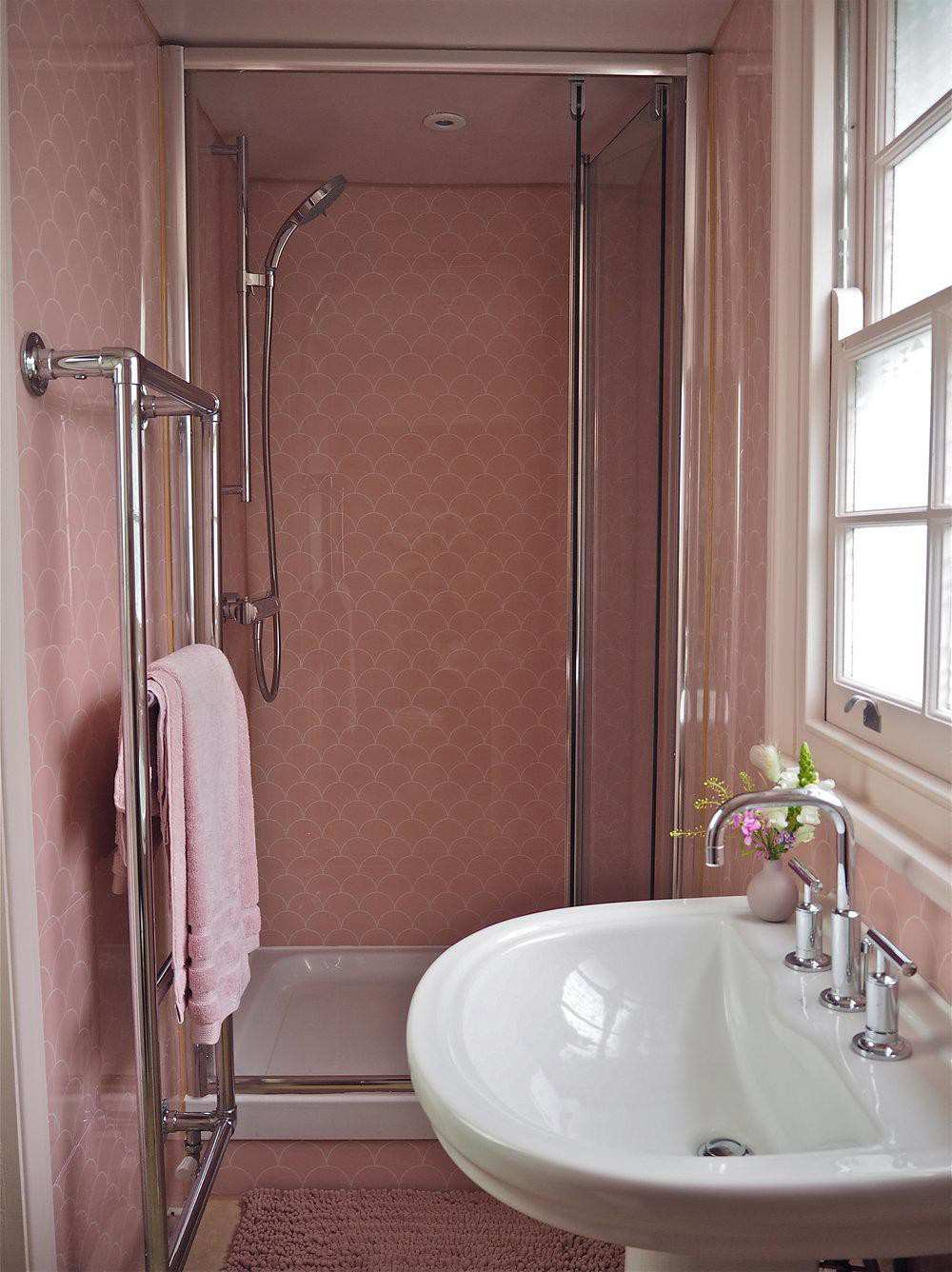 11. DIY Scalloped Pink Shower Wall