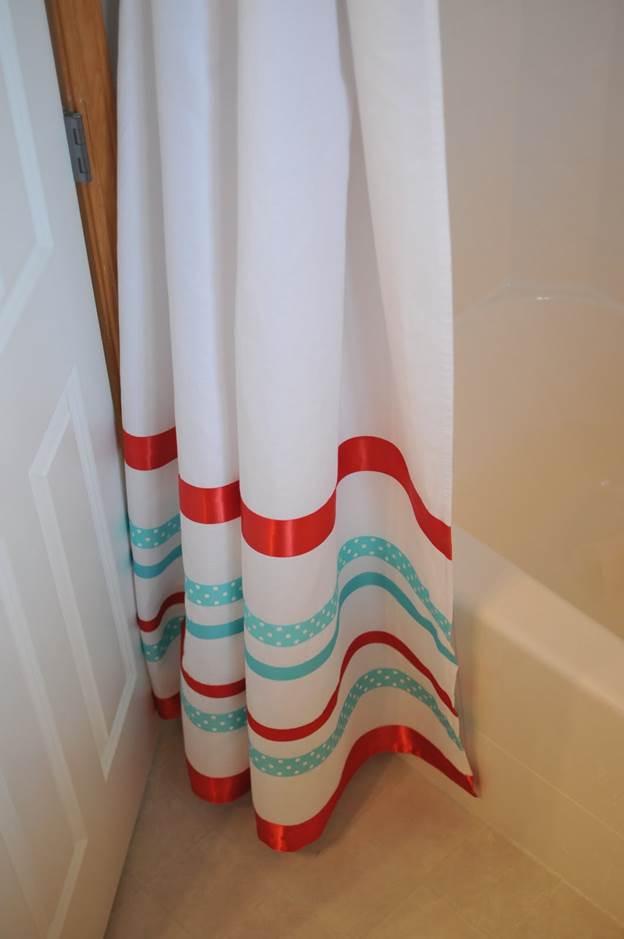 12. DIY Ribbon Shower Curtain