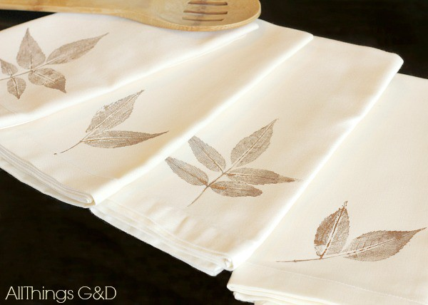 13. DIY Leaf Stamped Cloth Napkins