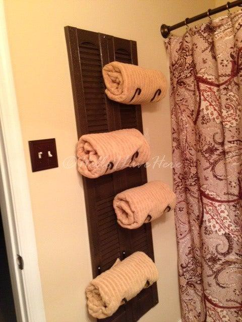 13. DIY Shutter Towel Rack
