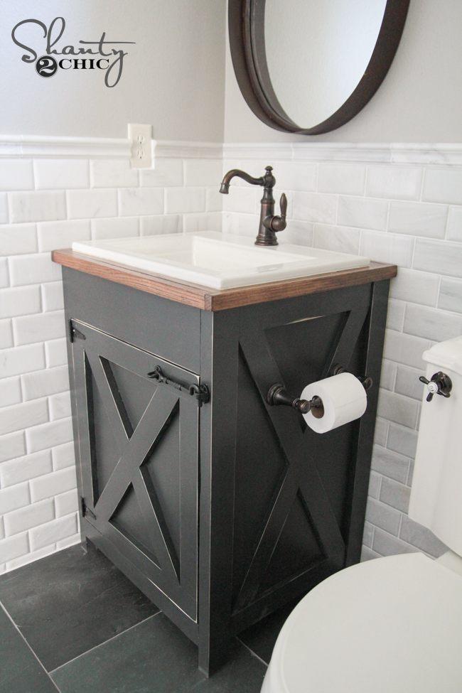 13. Farmhouse Bathroom Cabinet DIY