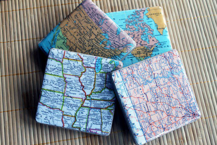 13. How To Make DIY Map Coasters