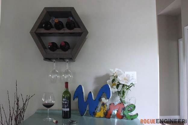 14. Hex Wine Glass Rack DIY