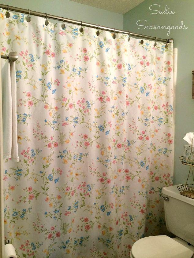 14. Vintage Bedsheet DIY Shower Curtain