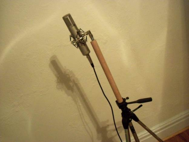 15. Camera Tripod Into Mic Stand Hack