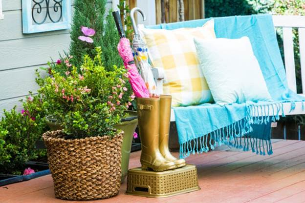 15. DIY Umbrella Stand With Boots